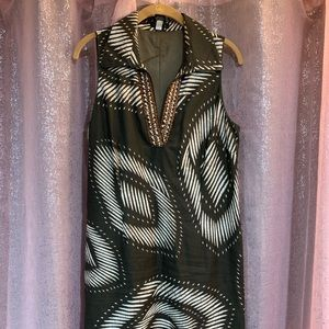 Sleeveless dress brown and tan size 14